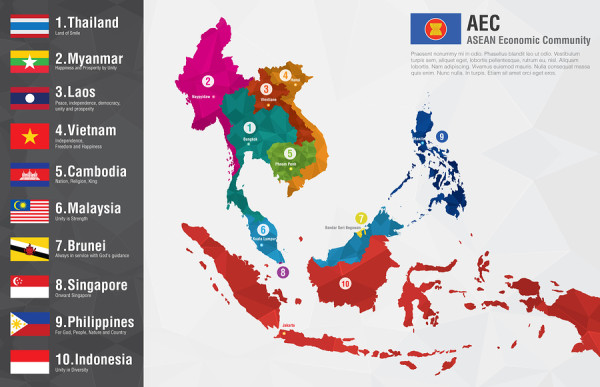 AEC Asean Economic Community world map with a pixel diamond texture and flags. World Geography and Economic.