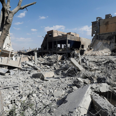The destroyed Scientific Research Centre is seen in Damascus, Syria April 14, 2018. REUTERS/Omar Sanadiki - RC12399FAB40